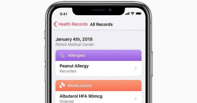 Apple implements health records.