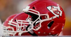 Kansas City Chiefs helmet on the sidelines during the NFL Preseason game against the Green Bay Packers on August 30, 2018