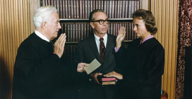 Sandra Day O'Connor Being Sworn in as Supreme Court Justice by Chief Justice Warren Burger