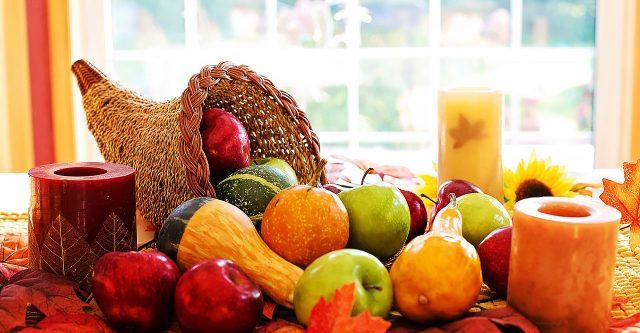 Cornucopia filled with fruits.