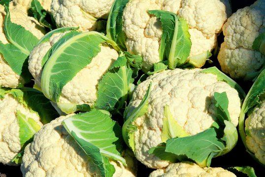 Pile of white cauliflower.