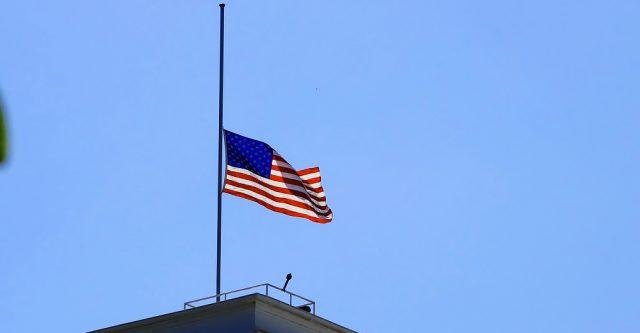 Flag at half mast.
