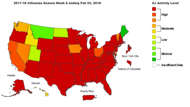 2017-18 Influenza Season Week 5 ending Feb 03, 2018