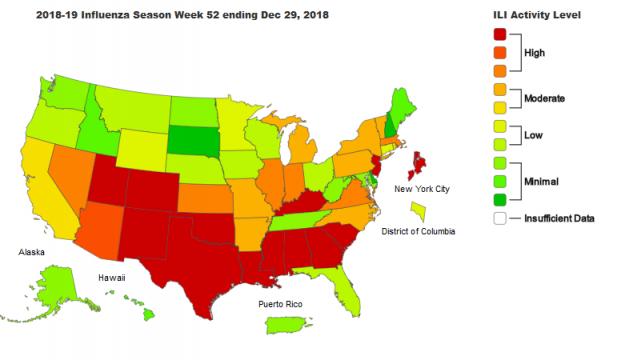 2018-19 Influenza Season Week 52 ending Dec 29, 2018