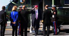 President Donald Trump disembarks Marine One.