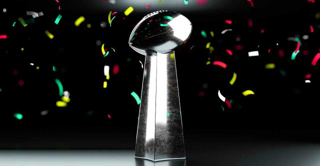 NFL trophy with confetti.