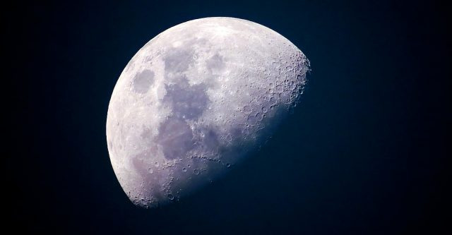 The moon in dark space.