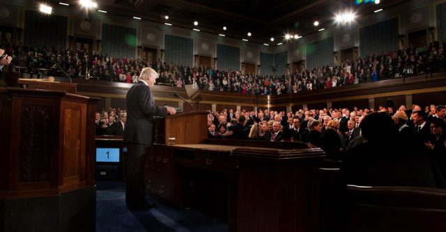President Donald Trump delivers an address to a joint session of Congress on Tuesday, February 28, 2017, at the U.S. Capitol. This is the President's first Address to Congress of his presidency.