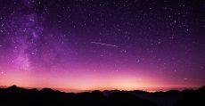 Stars in a purple sky.