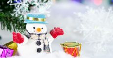 Little Snowman In Front of Christmas Tree