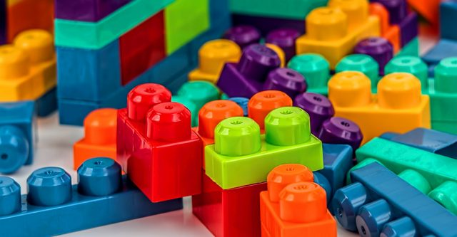 Pile of building blocks.