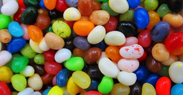 Bowl full of jelly beans.