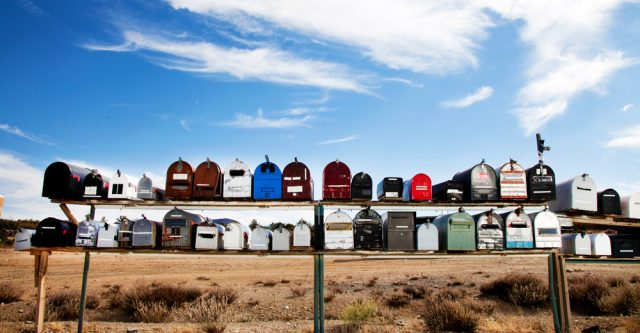 Row of mailboxes.