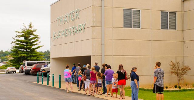 A line formed for back to school supplies.