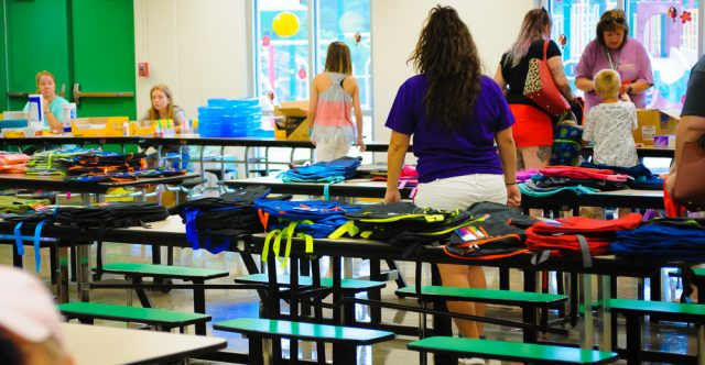 Thayer Bobcats Elementary gave out school supplies.