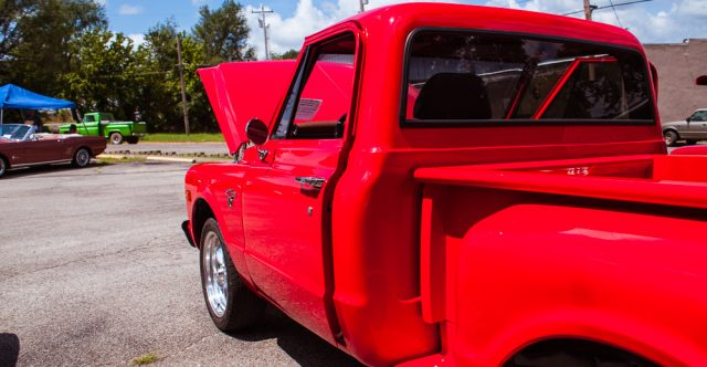 Red Pickup with no known owner.