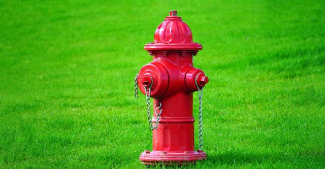 Red fire hydrant.