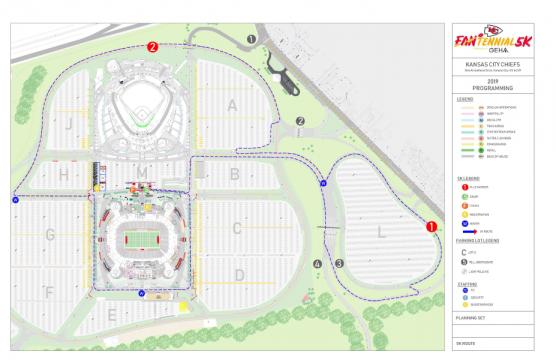 Kansas City Chiefs Fantennial 5k map. (Official photo by Chiefs Fantennial 5K)