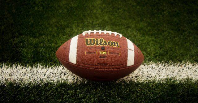 Football in field.