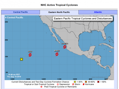 Tropical cyclones in Eastern North Pacific. (Official photo by NOAA.gov)