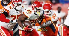 October 17, 2019, Denver, Colorado, U.S: Chiefs RB LESEAN MCCOY runs for yardage during the 2nd. Half at Empower Field at Mile High Thursday evening in Denver, CO. The Chiefs beat the Broncos 30-6. (Photo by Hector Acevedo/Zuma Press/Icon Sportswire)