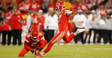 KANSAS CITY, MO - OCTOBER 06: Kansas City Chiefs Place Kicker Harrison Butker (7) connects on a 29 yard field goal during the game between the Indianapolis Colts and the Kansas City Chiefs on October 6, 2019 at Arrowhead Stadium in Kansas City, MO. (Photo by Jeffrey Brown/Icon Sportswire)
