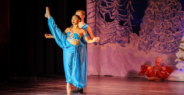 Lydia Dixon and James Dietsch perform the Arabian dance.