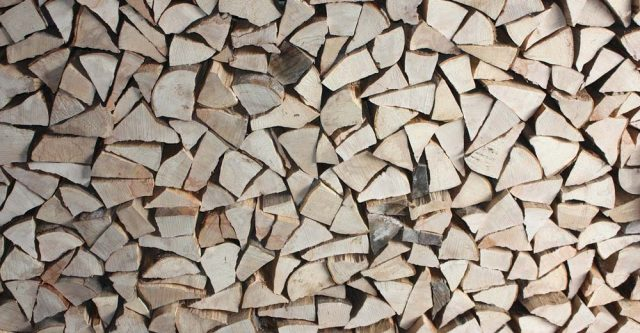 Staked chopped wood.