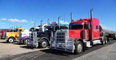 Semi trucks in parking lot.