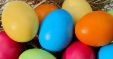 Colored Easter eggs in hay.