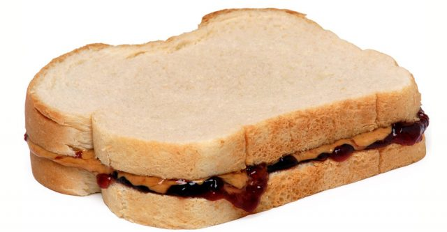 Peanut butter and jelly on bread.