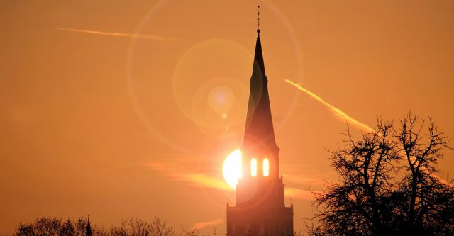 Church steeple at sunset.