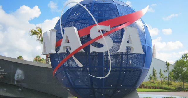 NASA logo on globe.