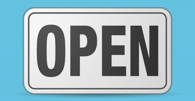 A white open sign.