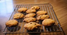 Chocolate chip cookies on a cooling rack.