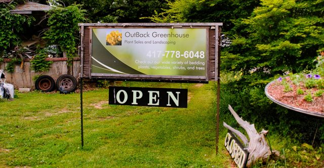 OutBack Greenhouse sign.