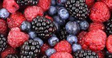 Black berries, Raspberries, and Blue berries.