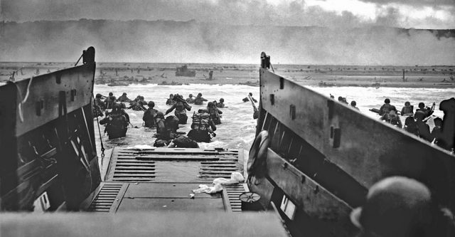 A landing craft dropping off troops.