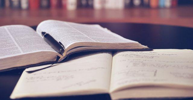 Open book an work book.
