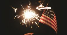 Sparkler and American flag.