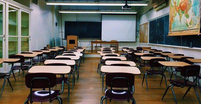 A empty classroom.