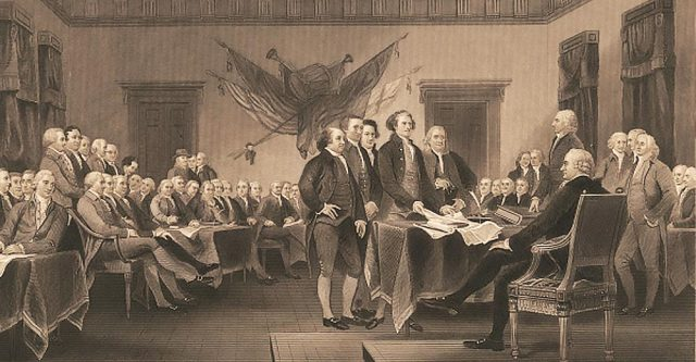 Painting of the Declaration of Independence by John Trumbull