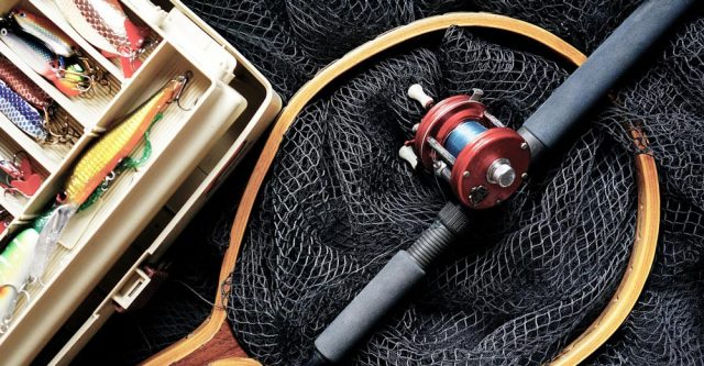 fishing pole and tackle box