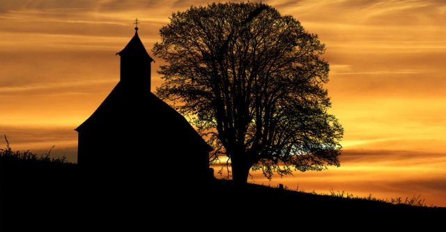 country church at sunset-