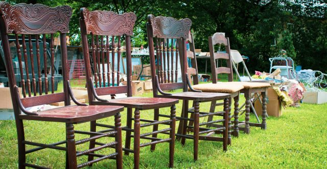 Chairs for sale at a yard sale
