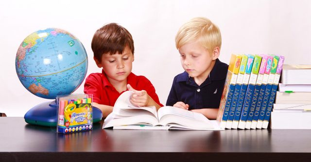 Two Boys Studying at Desk