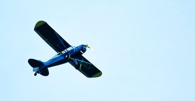 A airplane flying.