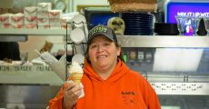 Loretta from Burger Palace with an ice cream cone