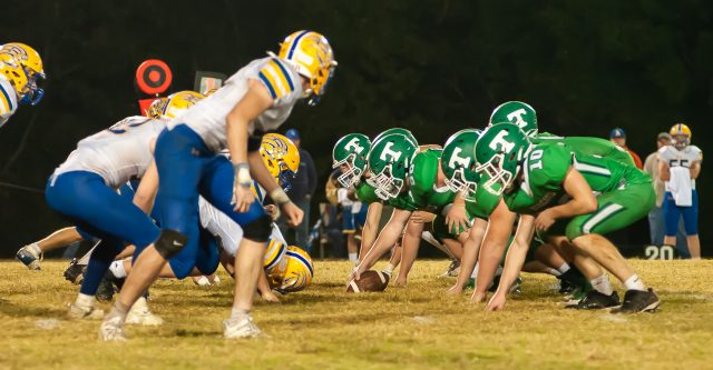 THAYER, MO - OCTOBER 9: Thayer Bobcats and Ava Bears get ready to play at the line of scrimmage during the high school football game between the Ava Bears and the Thayer Bobcats on October 9, 2020, at the Thayer High School football field in Thayer, MO. (Photo by Curtis Thomas/AltonMo.com)