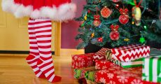vChristmas socks under a Christmas Tree